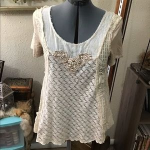 Shabby Chic Mixed Material Top